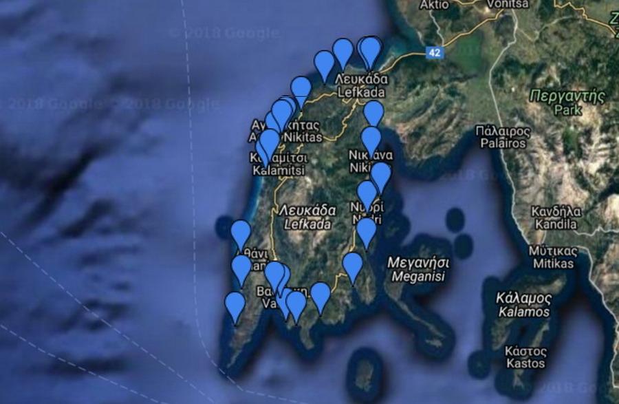 Mapa plaža na Lefkadi