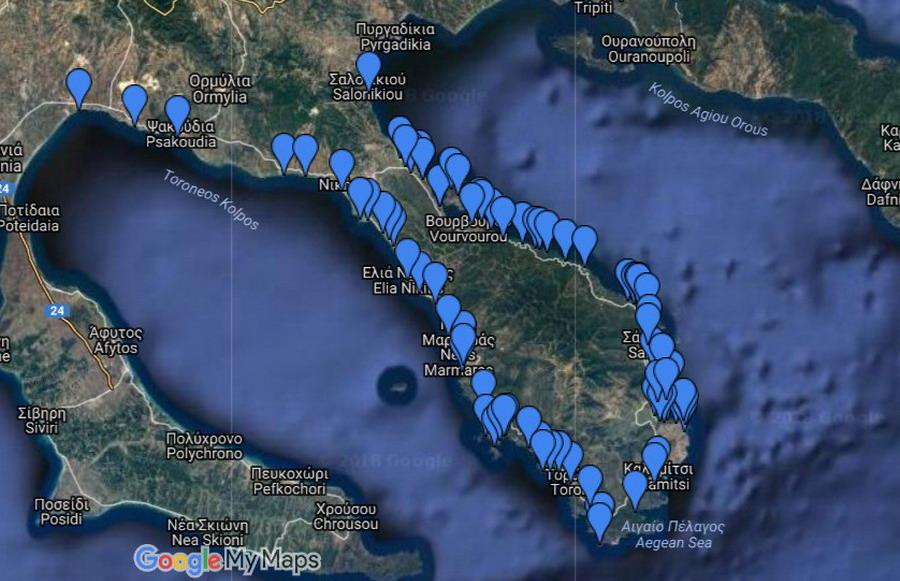 Mapa plaža na Sitoniji