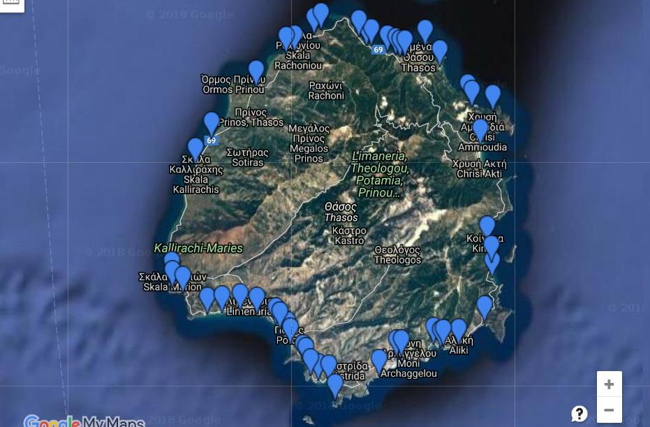 Mapa plaža na Tasosu
